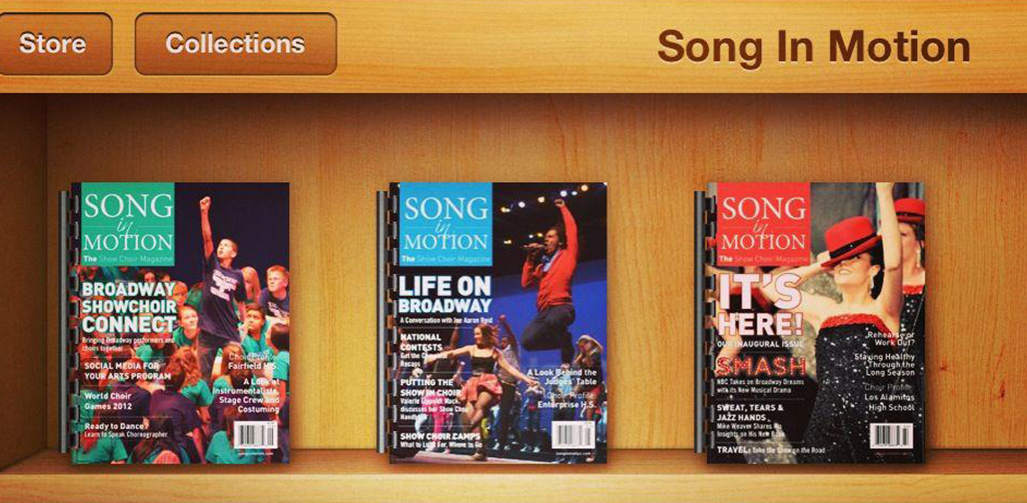 Covers of a few Issues of Song In Motion: The Show Choir Magazine